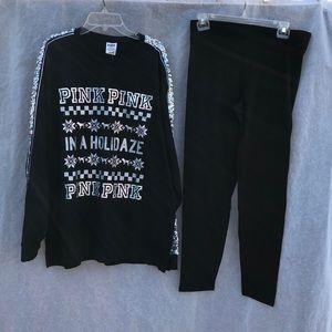PINK VS  Sequined Shirt and Leggings Set Sz Large